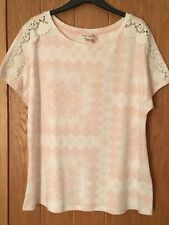 Size 16 M & S Indigo Collection Cotton Blend Lace Short Sleeve Top, Pink Mix