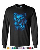 Blue Skulls Long Sleeve T-Shirt Skull Face Death Dead Reaper Hell Evil Demon Tee