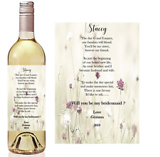 Will you be my Bridesmaid? Sister in law Wine bottle stickers. Personalised.