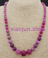 6-14MM PINK CRAZY LACE AGATE AGATE ROUND BEADS NECKLACE 18''