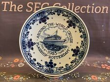 "HOLLAND AMERICA ""1985"" WORLD CRUISE Flagship ""ROTTERDAM"" Delft Blue Plate EUC"