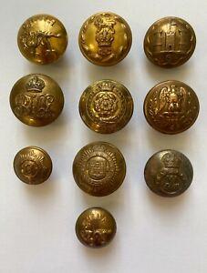 Assorted Vintage Brass Regimental Buttons x 10  VM575