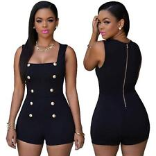 Womens Button Bodycon Jumpsuit Sleeveless Blouse Top Shorts Clubwear Romper XL