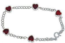 5 Ct Garnet Heart Bezel Bracelet .925 Sterling Silver