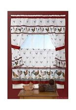 Top Of The Morning Rooster Printed Kitchen Curtain - 57x36 &  57x36