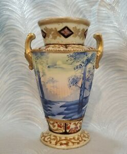 Antique Imperial Nippon Moriage Moonlight Scenic Vase Handpainted