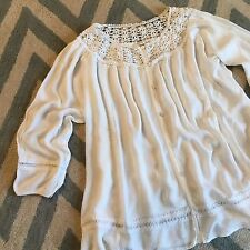 New ANTHROPOLOGIE Women's Boho White Gauze Flowy Peasant Lace Blouse Top Small