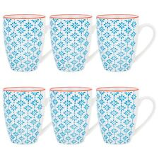 Tea Coffee Mugs Patterned Porcelain Restaurant Mug Cups 360ml - Blue Orange - x6