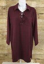 Mudpie  Kinsley  Lace Up Burgundy  Dress Womens Size S (4-6) NWT NEW