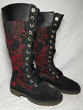 "Timberland Women Tall Black Size 6 Lace Up Paisley Riding Boots 14"" Suede 92312"