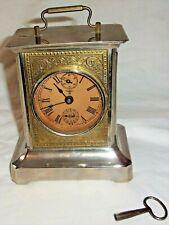 Vintage/Antique K. C. Co. Germany Carriage Clock Musical Alarm w/ key runs but&