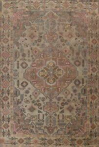 Antique Geometric Oriental Traditional Area Rug Hand-knotted Wool Carpet 9x12 ft