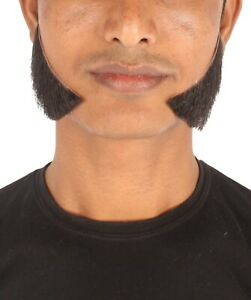 Men's Long Human Hair Sideburn Set Cosplay Facial Hair M-1235