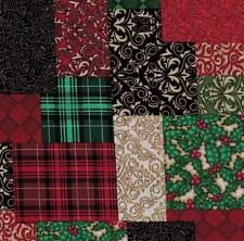 RJR Christmas Plaid Patchwork Red Green Gold Black Quilt Stocking Fabric