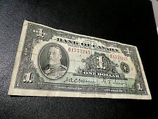 Old 1935 Canada 1 Dollar Note, Bill Currency Paper Money, King George V
