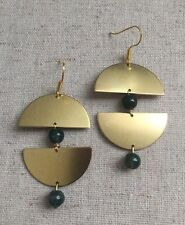 Unique Green Moss Agate Half Moon Brass Gold Hook Geometric Earrings Handmade