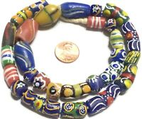 Handmade African Spring warm mixed recycled Glass African Trade Beads-Ghana