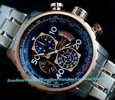 Invicta Mens Aviator Chrono 18KT Rose Gold Plated Blue Dial SS Bracelet Watch