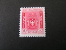 *ALBANIA, SCOTT # J44, 50q. VALUE CARMINE 1940 POSTAGE DUE COAT OF ARMS ISS MH