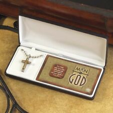"Man of God Cross Necklace Pewter & Brass, 20"" Stainless Steel Chain, by Dicksons"