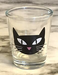 Shotglass With Black Cat Face Pink Nose ACC Pre Owned