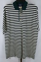 Cutter & Buck Mens Green Black White Striped Short Sleeve Polo Shirt Size 1X NEW