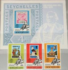 SEYCHELLES SEYCHELLEN 1979 439-41 Block 11 434-7 R. Hill Stamp on Stamp Post MNH