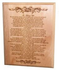 Military Wife Plaque - Laser Engraved on Alder Wood