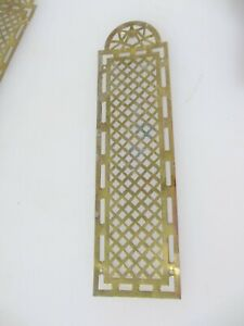 Victorian Brass Finger Plate Push Door Handle Pierced French Antique Old Vintage
