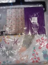 "LUSH DECOR~PIXIE FOX~GRAY/PINK FABRIC SHOWER CURTAIN~NEW IN PACK~72"" X 72"" SIZE"