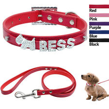 Personalized Dog Collars PU Leather Custom Cat Pet Collar and Leash set XS S M L
