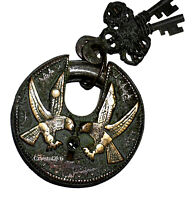 Eagle Engraved Lock Vintage Antique Style Brass Handcrafted Padlock with 2 Keys