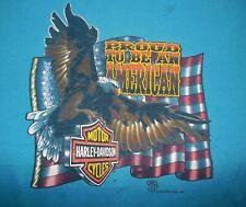 Vtg 80's HARLEY 1989 Holoubek~PROUD TO BE AMERICAN~Eagle T-SHIRT L~no 3D Emblem
