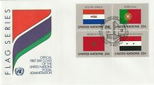 1989 United Nations New York FDC cover FLAGS-South Africa,Portugal,Morocco,Syria