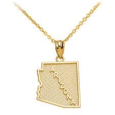 10k Yellow Gold Arizona State Map United States Pendant Necklace