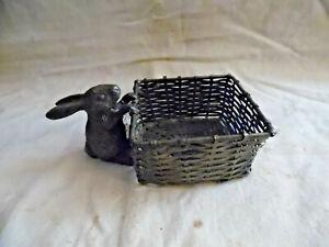 Cute Brass Rabbit Clinging To Small Wicker Trinket Basket