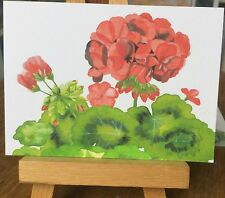 ACEO Limited Edition Print Original Watercolor painting Red Geranium Flowers Art