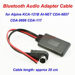 Bluetooth Audio AUX Adapter Cable For Alpine KCA-121B AI-NET CDA-9857 9886 117