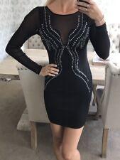 Lipsy Black Mesh Embellished Bodycon Dress Size 10 New