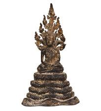 Tailandia 19. Jhd a Small Thai Rattanakosin Buddha On Naga Throne Thaïlandais