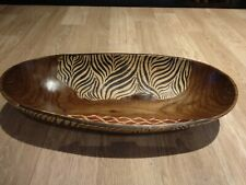 Large Vintage Rustic African Hand Made Carved & Painted Boat Shaped Wooden Bowl