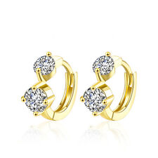 18 k Gold Plated Two Zircons huggies Women Girl Small Hoops First Earrings E1018