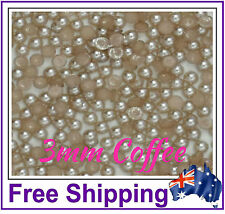 3mm Half Pearls Embellishment - 200 Pack - Coffee - By Gypsy Bling - Free Ship