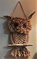 Vintage Macrame Hanging Owl~Boho~Antique~Mid Century Modern~Wall Decor~1960s-70s