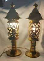 VINTAGE PAIR JAPANESE PAGODA SHAPE RARE SOLID BRASS TABLE LAMPS WORKING COND.