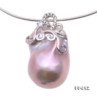 Unique 18x27mm Pink Baroque Freshwater Pearl Pendant Silver Necklace