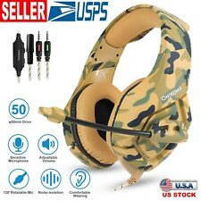 Camouflage 3.5mm Gaming Headsets Noise Isolation Stereo Earmuffs w/ Microphone