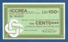 ITALIA // ITALY -- ICCREA -- 100 LIRE ( 31.3.1977 ) -- UNC .