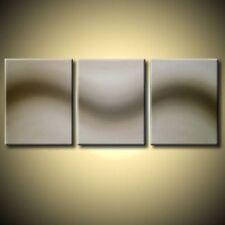GRANDE PANNELLO 3 TRITTICO ASTRATTO TELA Wall Art Astratto Moderno Marrone Neutro