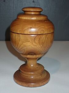 """Hand Made Wood Wooden Covered Dish 8"""" Tall"""
